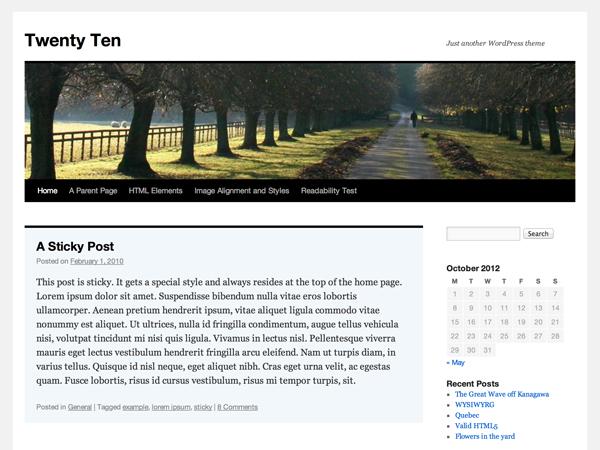 Screenshot of the twentyten theme