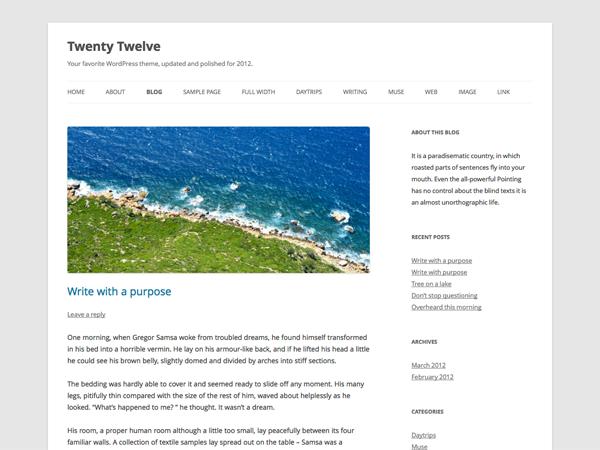 Screenshot of the twentytwelve theme