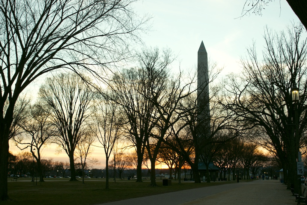 Washington Monument on a warm winter day