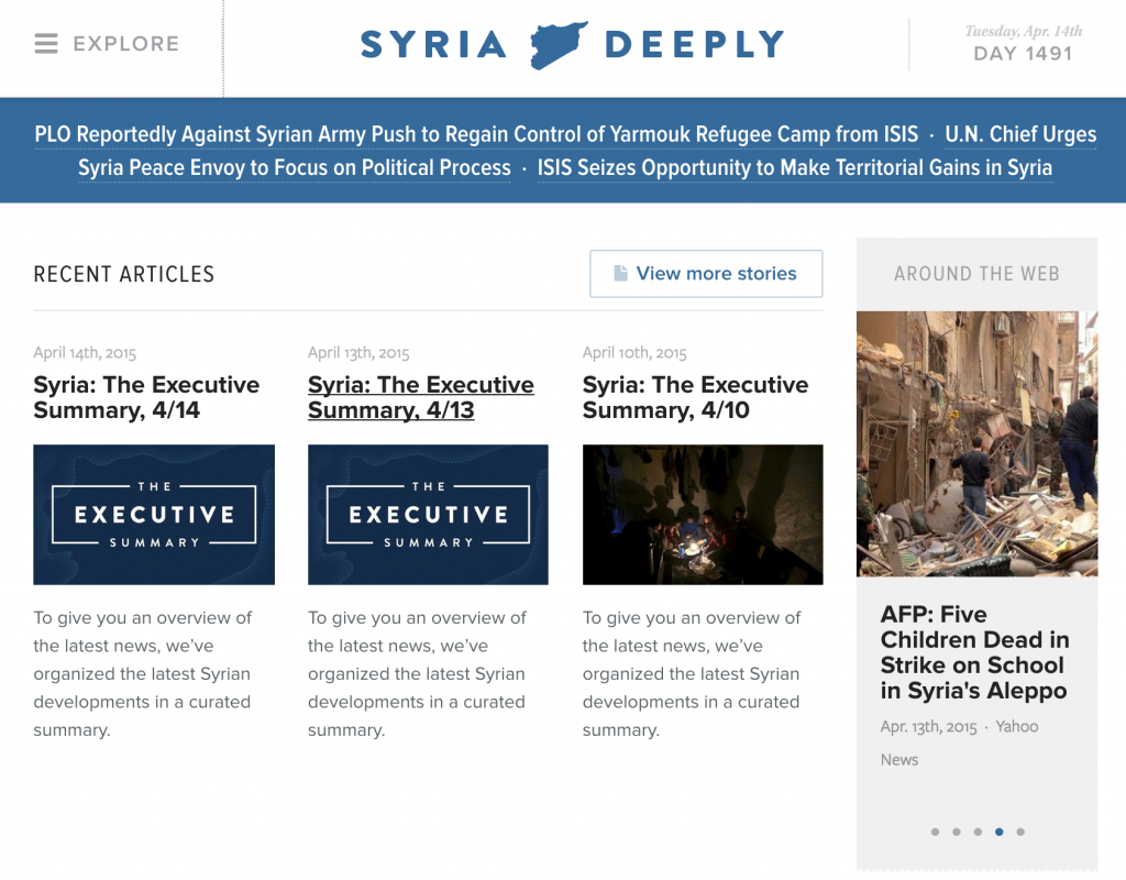 Screenshot of Syria Daily homepage on 14 April 2015
