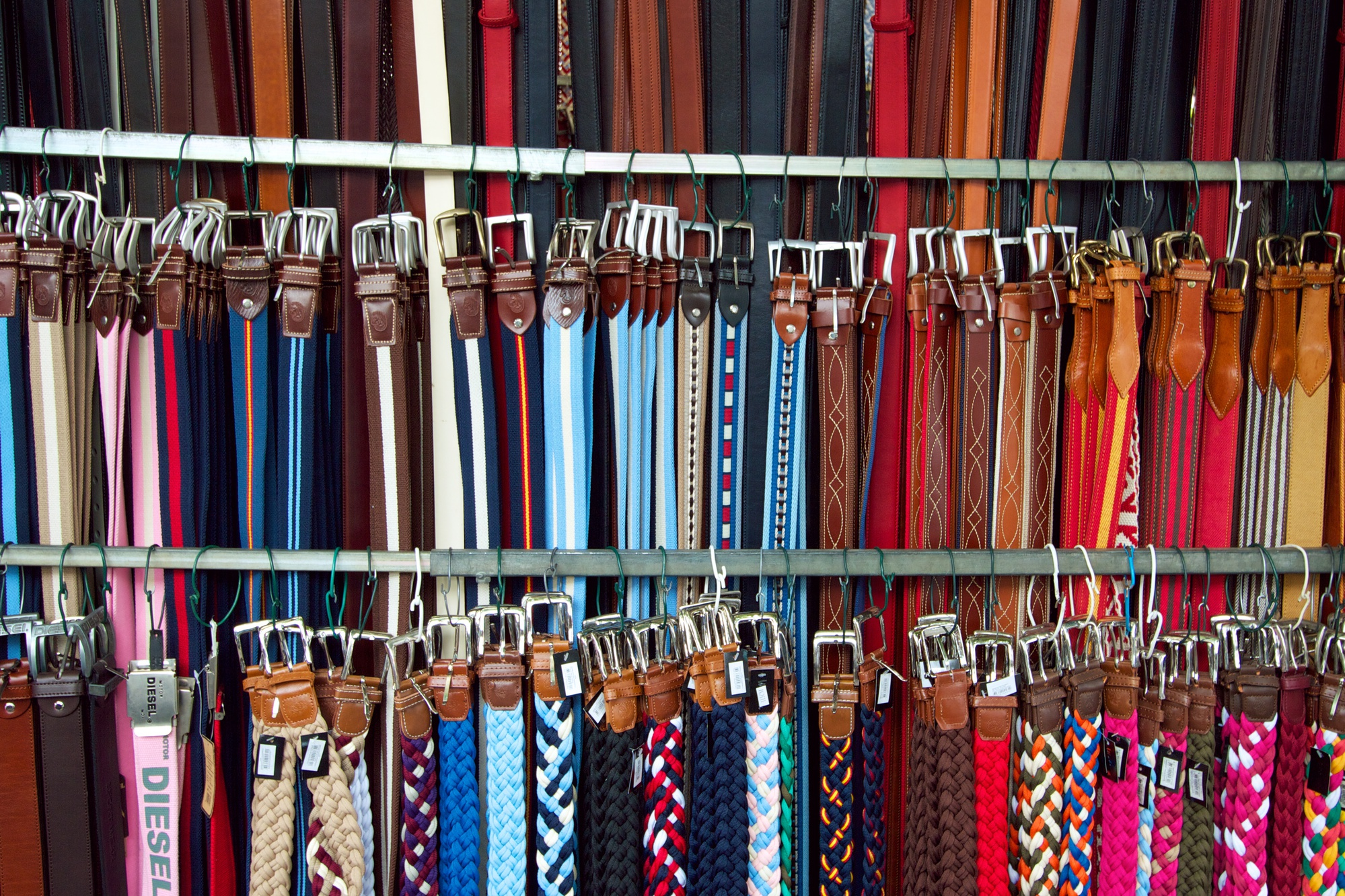 3 rows of belts with some interesting paterns