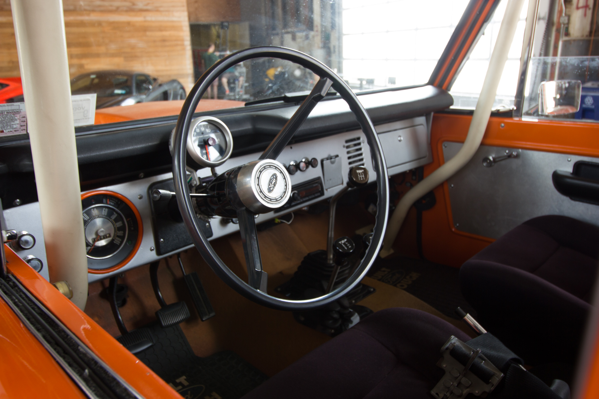 Steering Wheel and cabin of a classic pickup