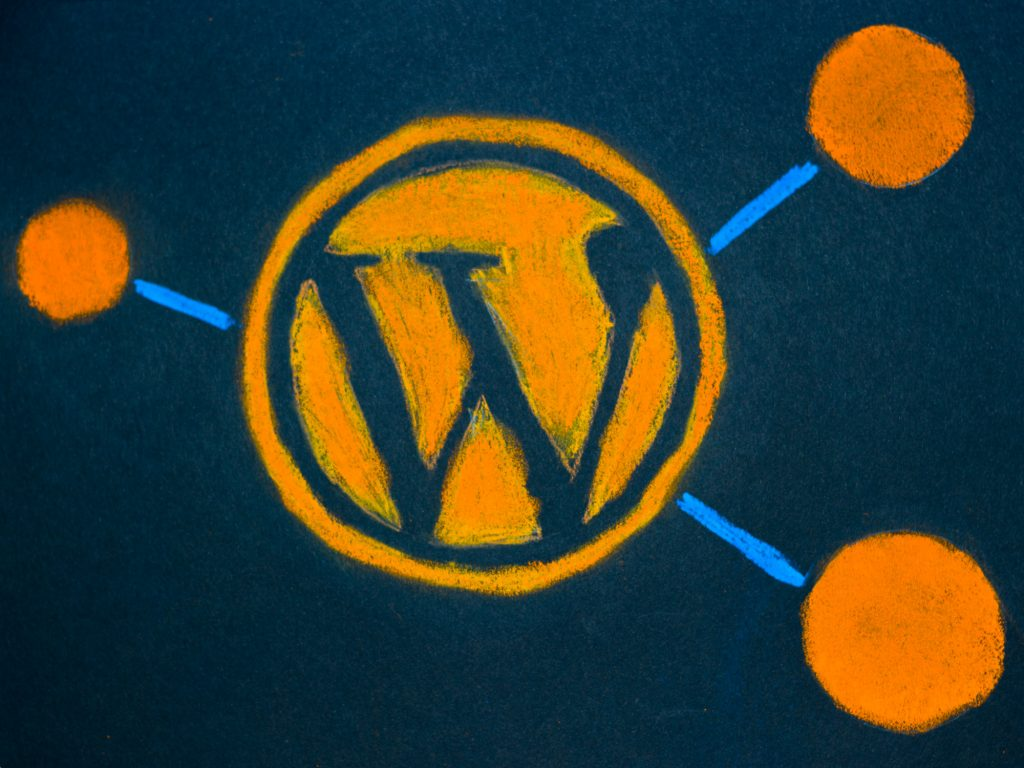 A pastel drawing of the WP logo with pieces from the WP REST API project logo