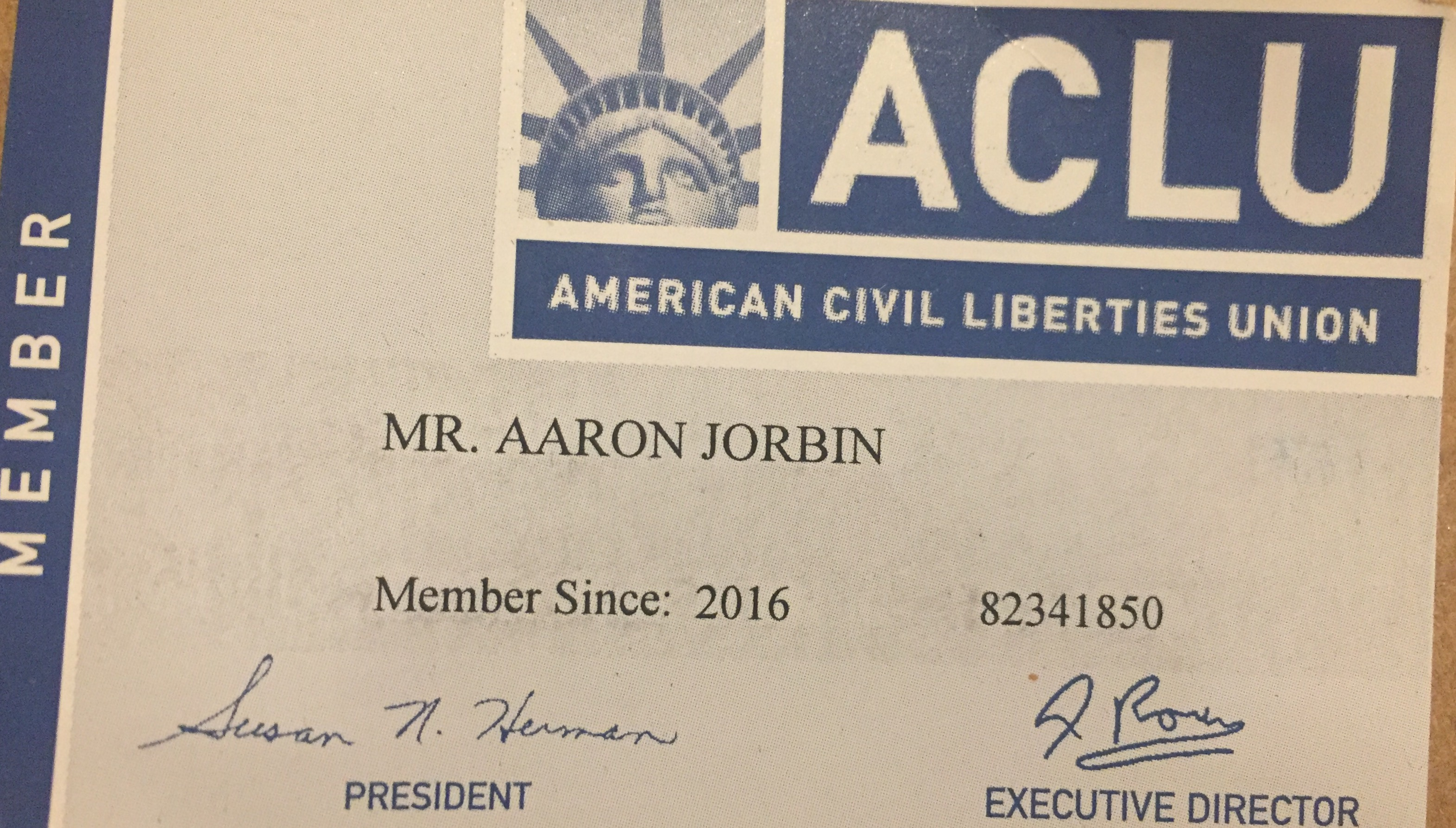 I'm proud to be a card carying member of the ACLU